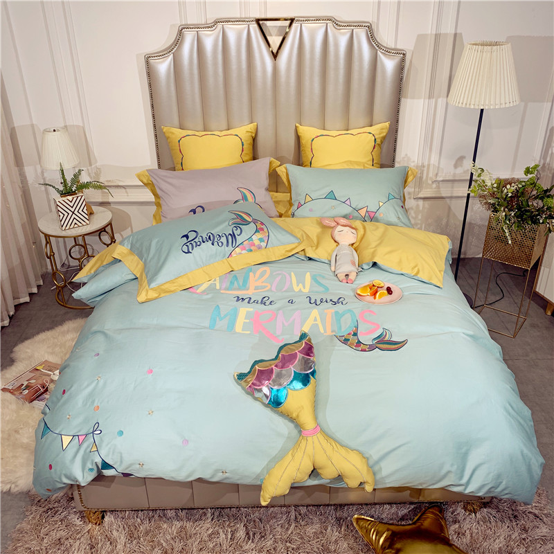 2019 New Product Solid Color 1/2/4 Pcs Bedding Set Egyptian Cotton Bedclothes Mermaid Bed Linens Duvet Cover Set Bed Sheet