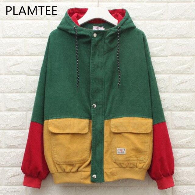 Plamtee Мода BF Курточка бомбер негабаритных лоскутное Карманы Осень пальто с капюшоном контраст Цвет молнии casacos опрятный Chaqueta