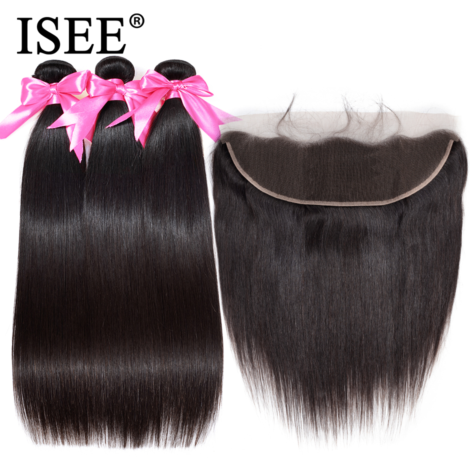 ISEE HAIR Human Hair Bundles With Frontal 13 4 Pre Plucked Lace Frontal Remy Peruvian Straight