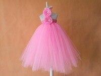 Unieke kerst 2 grote zonnebloem wit meisjes jurken retail 2015 nieuwe effen roze bloem baby jurk voor party