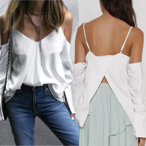 Womens Lady Off Shoulder Tops Blouses Fashion Ladies Casual Tops Shirt Women Summer Loose Top Long Sleeve Blouse