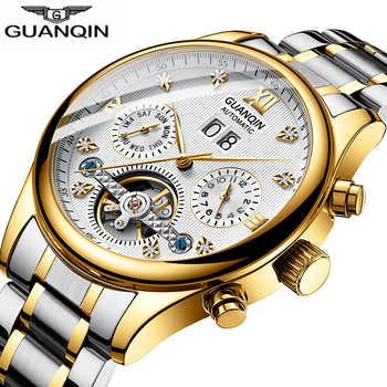 GUANQIN 2019 Automatic clock men Mechanical watch men Tourbillon waterproof top brand luxury dropshipping date relogio masculino - DISCOUNT ITEM  53% OFF All Category