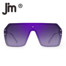JM Oversized Shield Sunglasses Flat Top Frame Gradient Lens