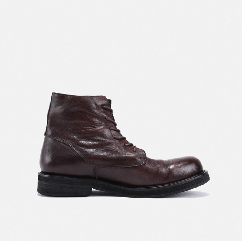 Рабочие ботинки из натуральной кожи в стиле ретро; мужские зимние кроссовки на шнуровке; роскошные кроссовки в британском стиле с высоким берцем; ботинки для верховой езды; повседневная обувь - 3
