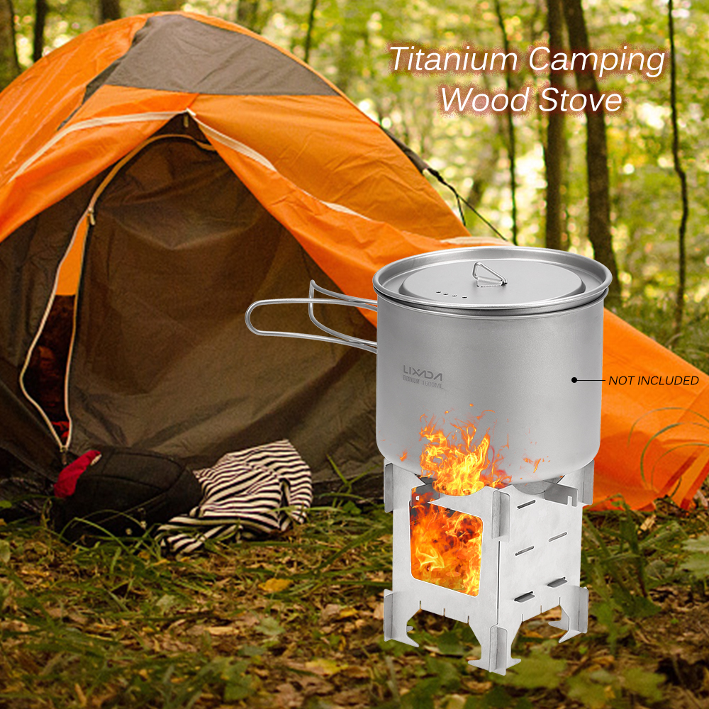Image 5 - Lightweight Titanium Folding Wood Stove Outdoor Camping Stove Picnic Cooking Backpacking Furnace Outdoor Camping Stove-in Outdoor Stoves from Sports & Entertainment