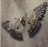 New Arrival Creative Abstract Retro Wing Wall Sculpture Decoration Figurine Decorative Metal Statue TV Background Xmas Gift