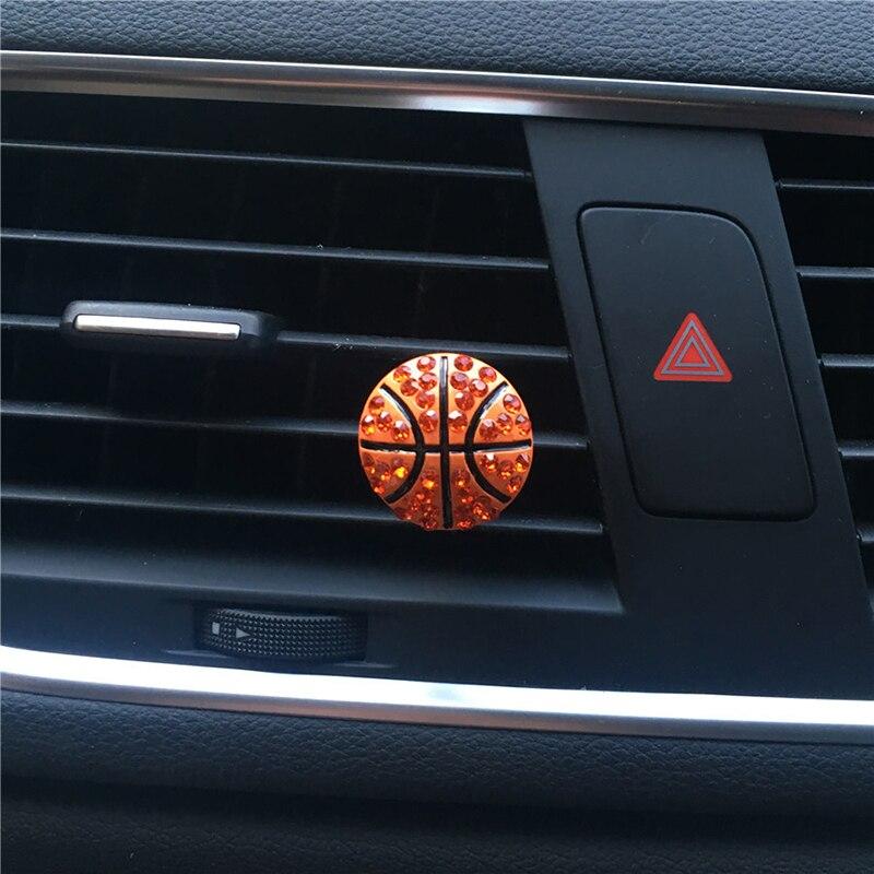 Автомобильный декор для интерьера, Алмазный футбольный мяч, вентиляционное отверстие, автомобильный аромадиффузор, автомобильный аромати...