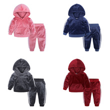 Velvet Children Boy Clothing Sets Autumn Winter Baby Boys Girls Clothes Set Long Sleeve Hooded Top+Pants 2 Pcs suit Kids Clothes winter baby boy girl clothes long sleeve casual cotton clothing solid hooded kids boys girls clothes comfortable coat j1