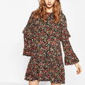 Fashion Slim Cascading Ruffle Dresses Vintage Print Long Sleeve Dress Women Spring Vacation Vestidos de Fiesta Cortos XZ0839