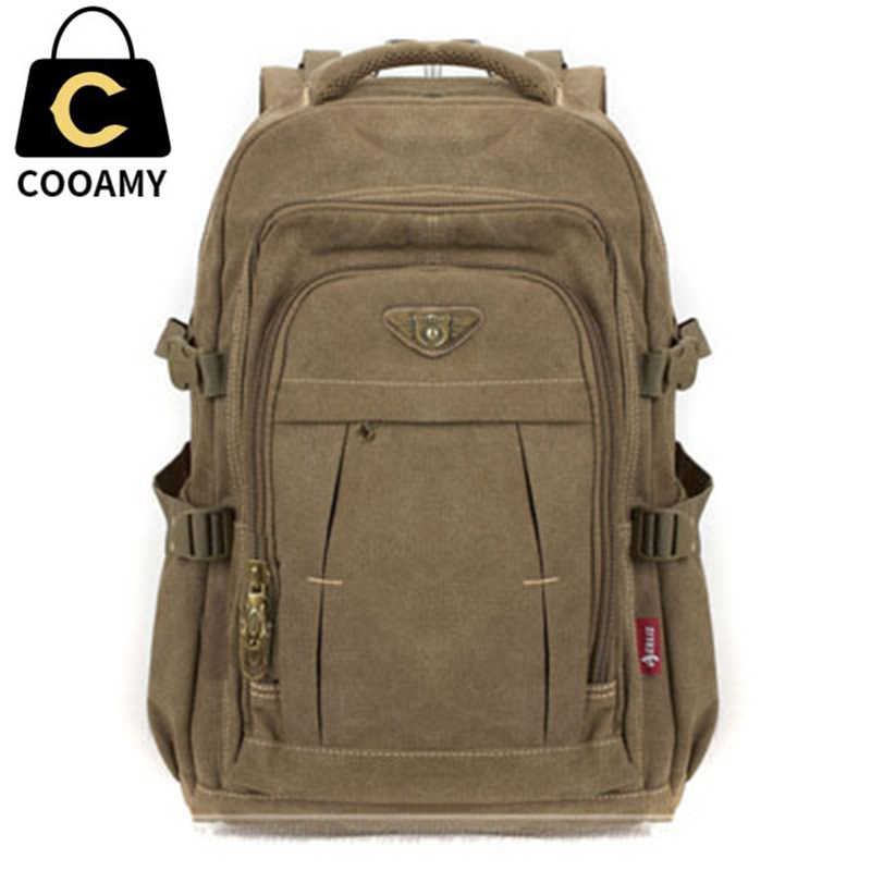 Men's Military Canvas Backpack Zipper Rucksacks Laptop Travel Shoulder Mochila Notebook Schoolbags Vintage College School Bags
