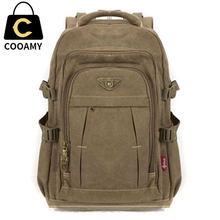 Men's Military Canvas Backpack Zipper Rucksacks Laptop Travel Shoulder Mochila Notebook Schoolbags V