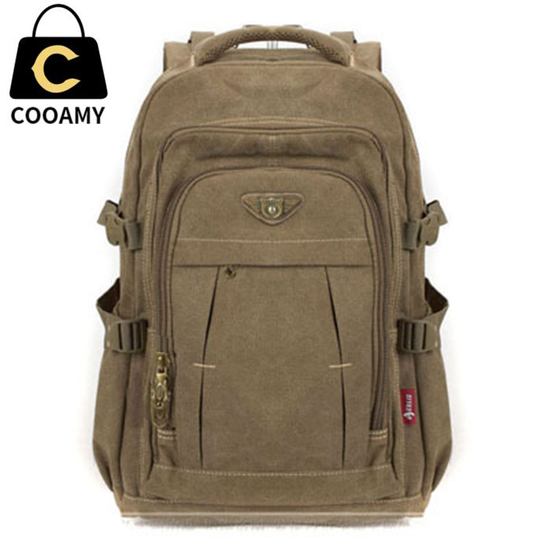 Men's Military Canvas Backpack Zipper Rucksacks Laptop Travel Shoulder Mochila Notebook Schoolbags Vintage College School Bags image