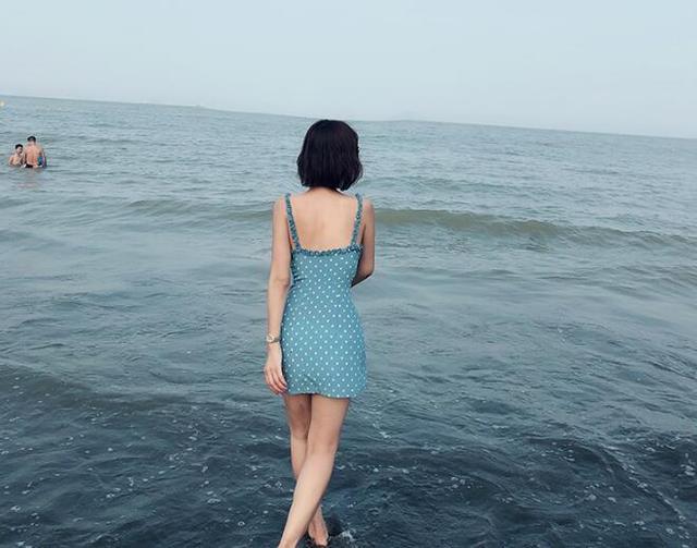 Women summer sleeveless blue and white spot print sweet ruffle high waist sexy silk slim spaghetti strap mini dress