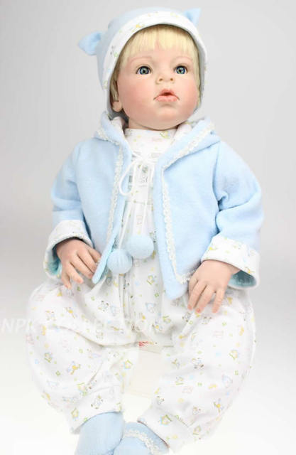 25ff9bb1b18d 28 inch Big Size Handmade Popular Reborn Toddler Doll with Rooted Blonde  Hair Dress up Boy Education Doll Toy Xmas Gift for Sale