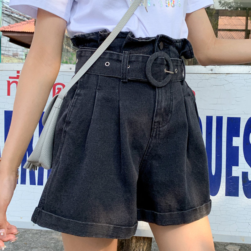 Women High Waist Plus Size Ruffles Denim Shorts Pleated Wide Leg Belt Black Short 2019 Summer Loose Fashion Jeans Clothing Lady