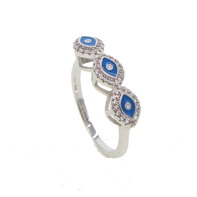 Синяя Белая Эмаль сглаза три Симпатичные Счастливые Глаза очаровательные