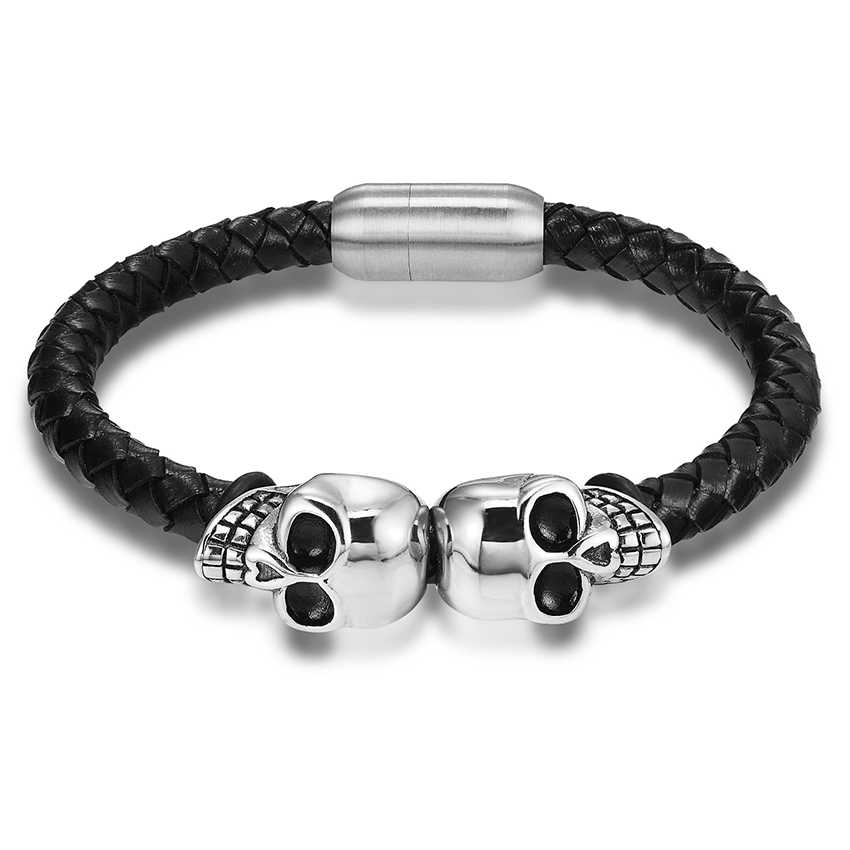 5c9f1a3f82d02 Retail Fashion Genuine Leather Punk Skull Man bracelets & bangles fashion  bracelet for man jewelry with color protection