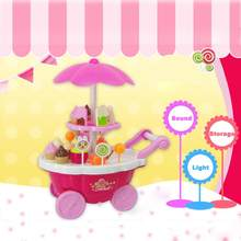New Kids Toys Simulation Mini Candy Ice Cream Trolley Shop Pretend Play Set 39PC Q30 AUG22(China)