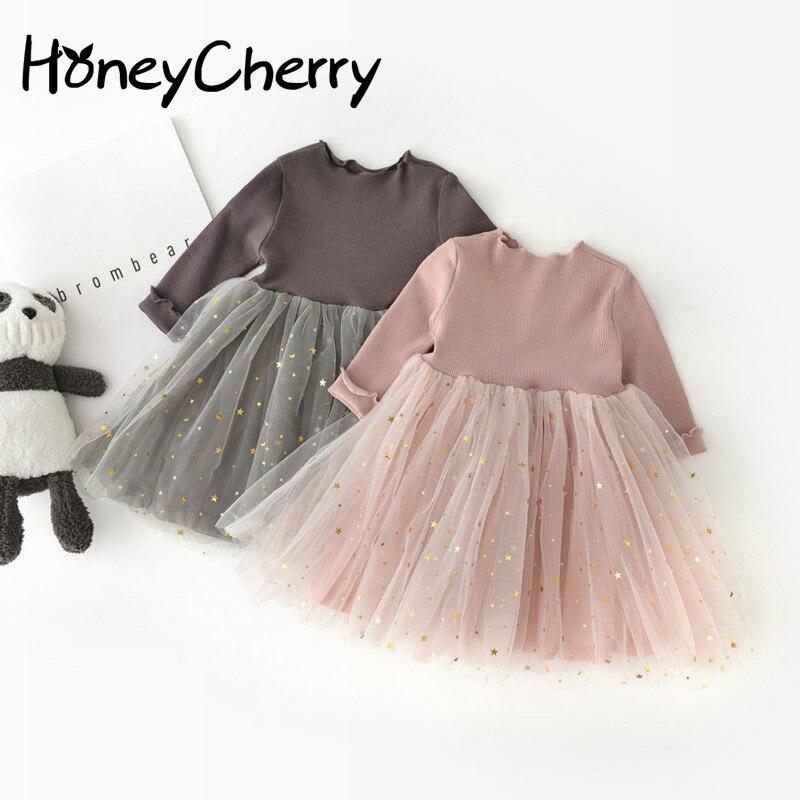 Новое Детское платье принцессы для девочек корейское платье с длинными рукавами и пентаграммой Одежда для маленьких девочек Детские платья для девочек