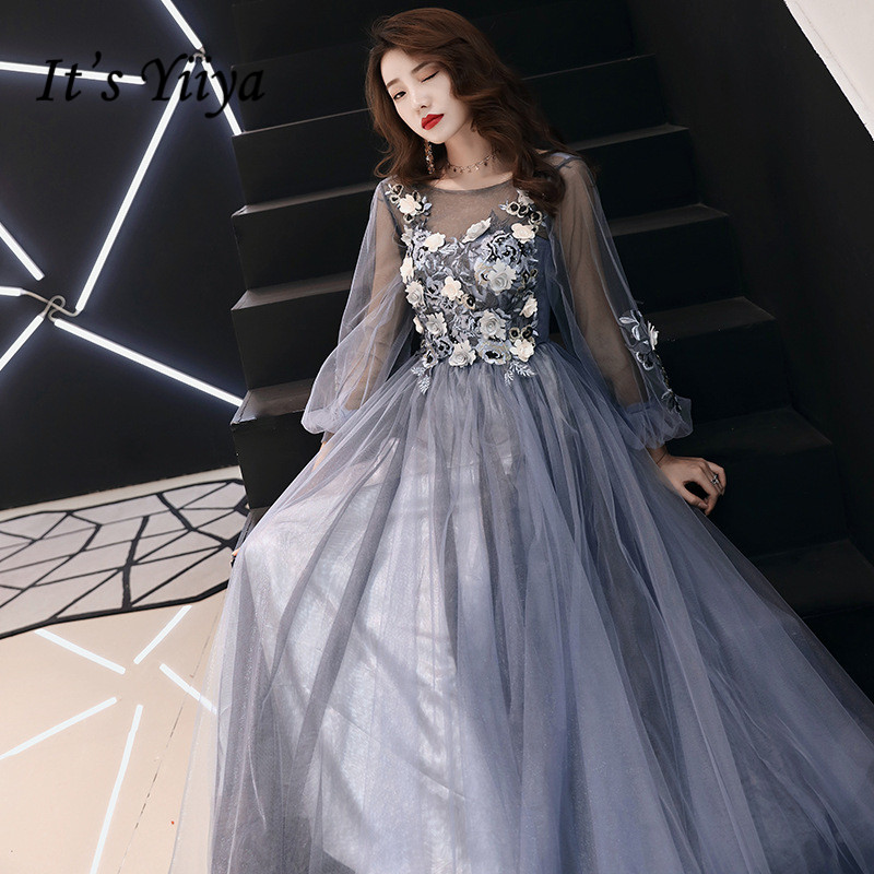 It's YiiYa Evening Dress Illusion Full Appliques Beading Flowers Design Floor length Formal Dresses Long Sleeve Party Gown E064