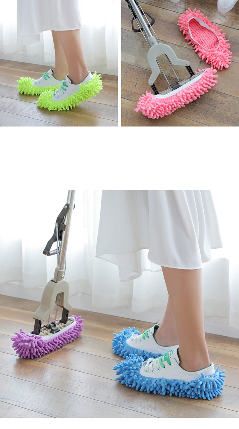 1Pcs Shoes Covers Mop Slipper Lazy House Floor Polishing Cleaning Easy Foot Sock Shoe Cover Mopping Lazy Shoe Cover Blue Purple (3)