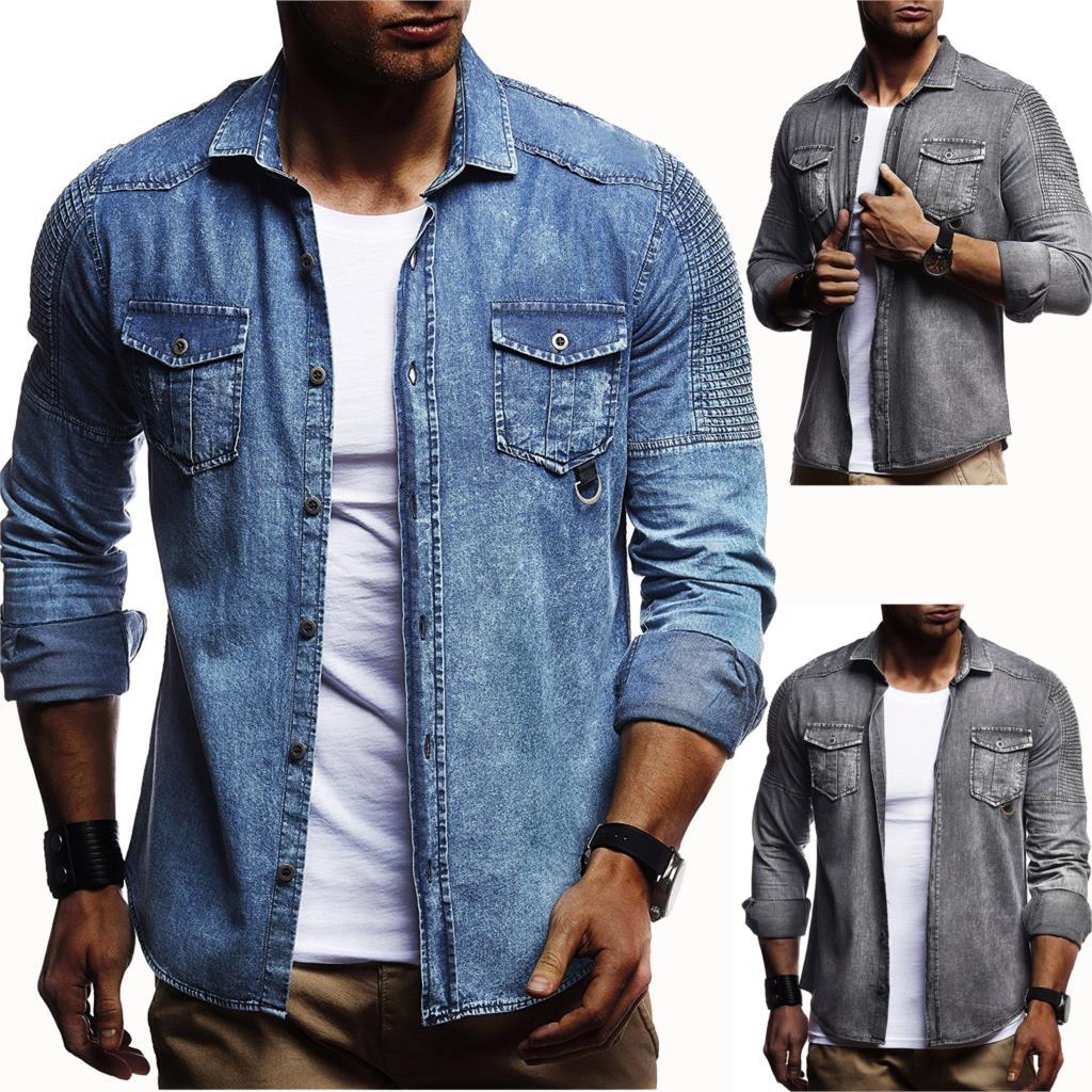 2018 hombres lavado Denim Camisas manga larga Slim Fit Jean camisas para hombres vaquero camisetas Tops Classic Casual Hombre abrigo