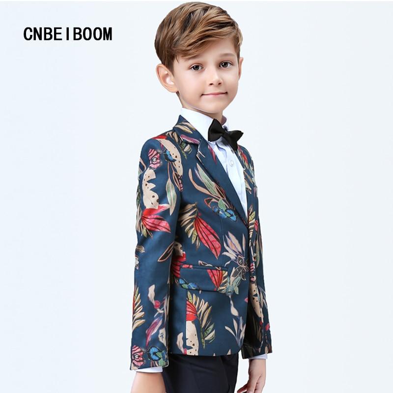 Фото 2018 New Style Blazer Tide Children Navy Blue Birds Print Slim Fit Suits Costume Jacket Pants Wedding Suit 3-16T clothes Sets