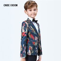 2018 New Style Blazer Tide Children Navy Blue Birds Print Slim Fit Suits Costume Jacket Pants