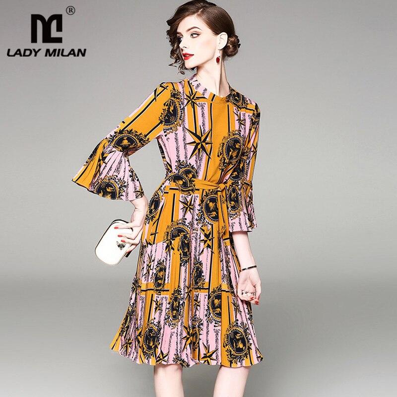 Lady Milan 2018 Womens O Neck 3/4 Sleeves Ruffles Pleated Printed Sash Belt High Street Fashion Short Dresses