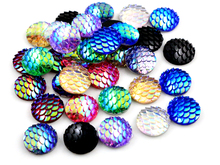 New Fashion 40pcs 12mm Mix AB Colors Fish Scale Style Flat back Resin Cabochons For Bracelet Earrings accessories