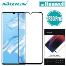Nillkin Huawei P30 Pro Cam Ekran Koruyucu 3D DS + MAX Tam Kapak 9D Kenar Güvenlik Koruyucu Cam için Huawei p30 Pro Temperli