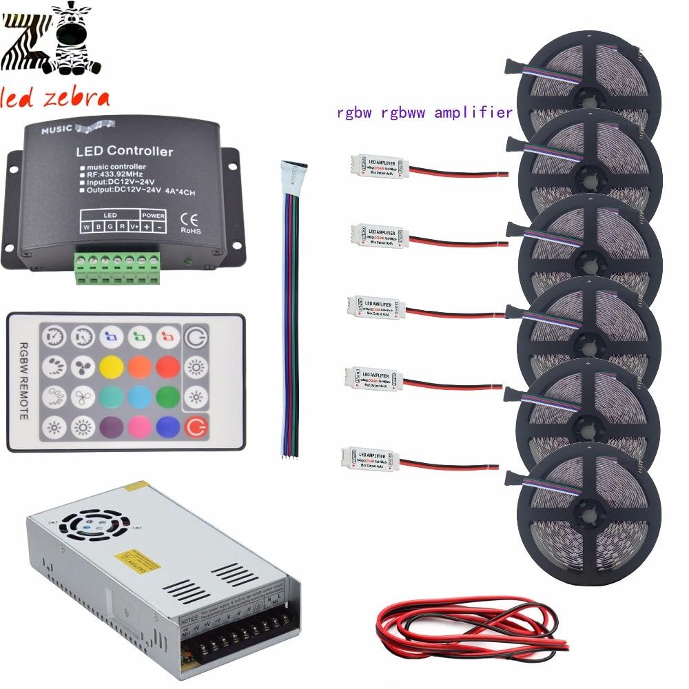 Super lumineux 5 m ~ 30 m rgbw rgbww 5050 bande LED smd lumière + LED de contrôle de musique + amplificateur rgbw + transformateur de alimentation LED 12 v