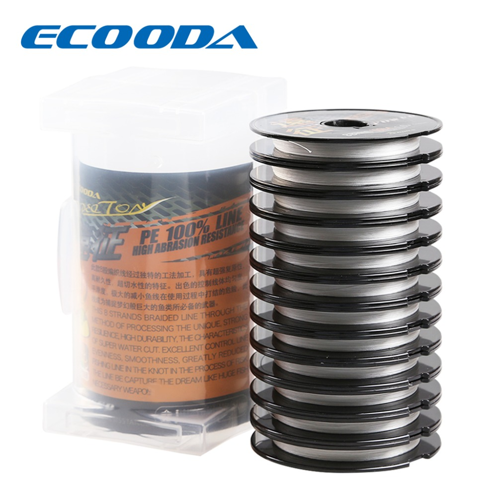Ecooda Expedition PE Fishing Line White 8 Braid 1.0-5.0 Totall 1200m Saltwater and Freshwater Line High Abbasion Resistance