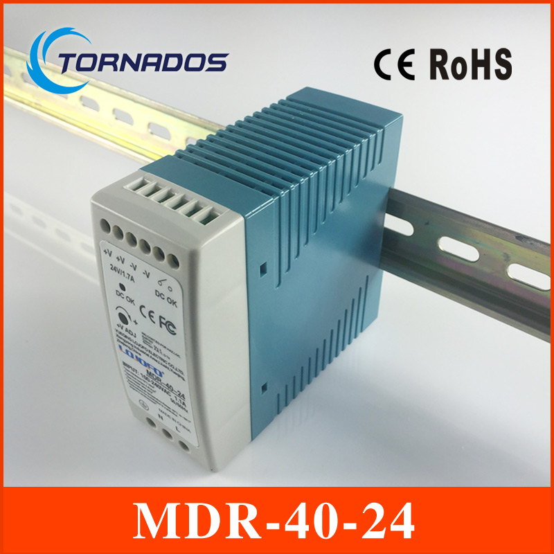 din mounting small size thin MDR-40-24 Industrial DIN rail Mini switching power supply for LED driver 24v 1.7A 40W ac dc f3125 industrial vpn gsm gprs router with din rail mounting for atm solar pv projects