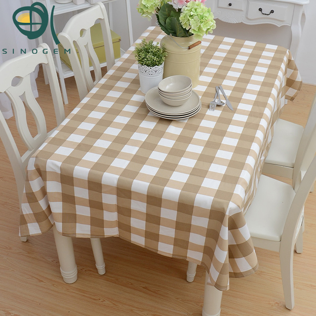 Sinogem Tablecloth Country Style Rectangular Lattice Pattern Printing Hotel  Party Tablecloth Dining Coffee Table Cloth