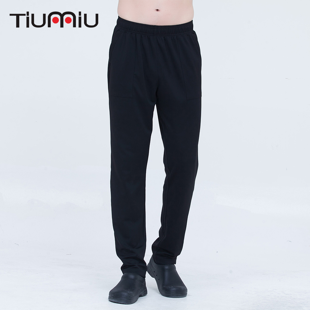 2019 Men Black Chef Pants Elastic Trousers Restaurant Kitchen Hotel Food Service Bakery Cafe Sushi Waiter Cooker Workwear Pants