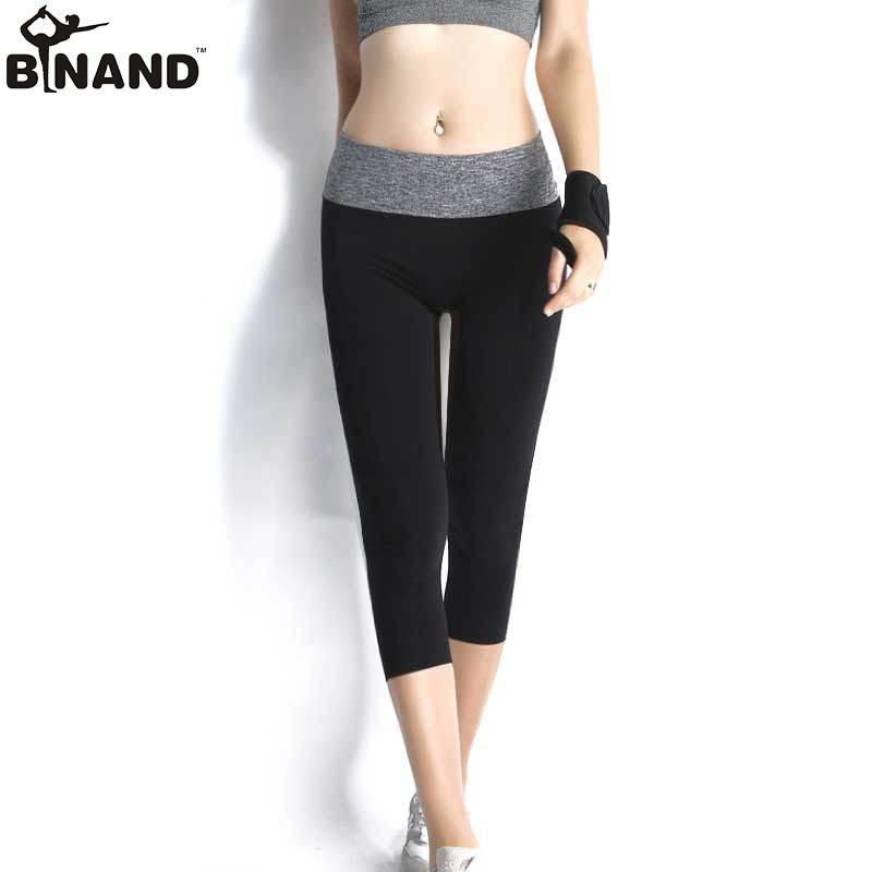 2018 Spandex High Elasticity მშრალი Fit Cropped Yoga შარვალი ქალთა სპორტული ფიტნეს გაშვებული გამაშები GYM შარვალი 6 ფერი
