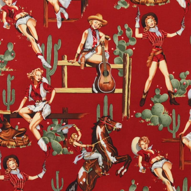 130 센치 메터 넓은 수출 미국의 복고풍 포플린 직물 100 %면 직물 능 직물 서양 여자 인쇄 직물 재봉 재료 Diy 드레스