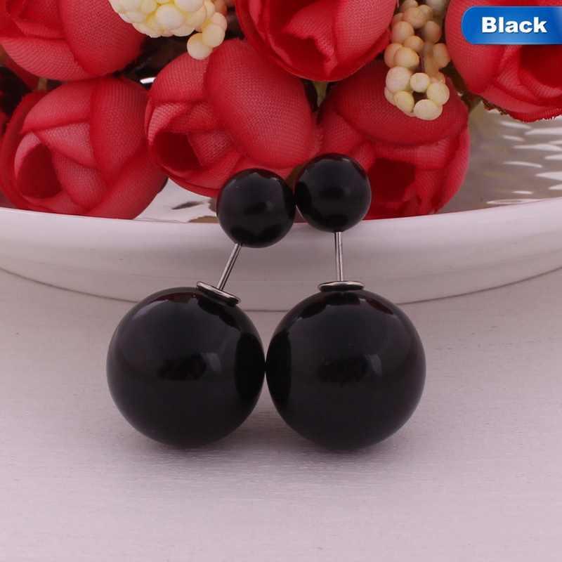 2018 Hot Selling Double Sides Big Pearl Stud Earrings Candy Colors  Big Ball Earrings Women Party Bead Ear Stud Jewelry