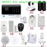 3G wifi alarm system APP controll WiFi alarm security smart home with surveillance IP camera+ir beams barrier detector