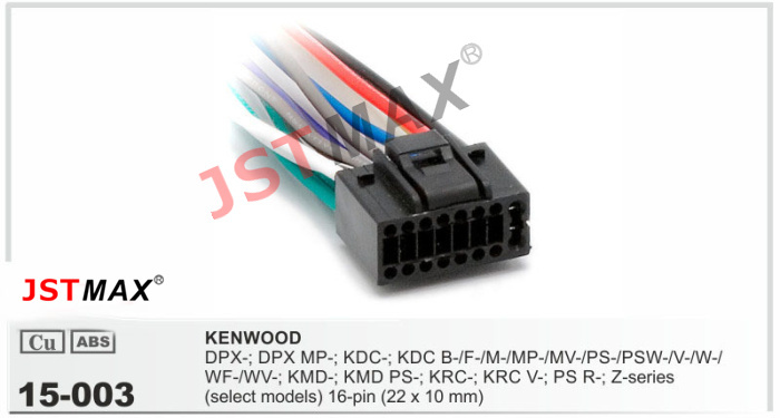 JSTMAX car DVD Radio stereo ISO cable 16pin Adapter for Kenwood 256 Stereo Radio Wire Adapter jstmax car dvd radio stereo iso cable 16pin adapter for kenwood kenwood car stereo wire harness at crackthecode.co