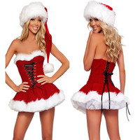 Christmas Hat Underwear Sexy Lingerie Red Rrotic Lingerie Babydoll Dress Sleepwear 3 pcs Set Sexy Costumes Exotic Apparel