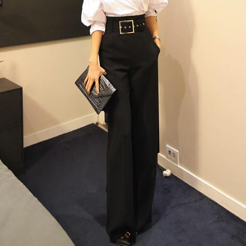 2019 Workwear Formal Black Straight Pants High Waist Pantalon Costume Pant Summer Trouser Female Wide Leg Pants For Women Pants