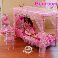 دمية الاكسسوارات والأثاث أميرة سرير منضدة الزينة تلعب مجموعة باربي 1/6 طفلية