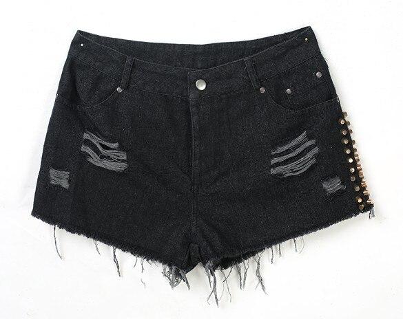 New Arrival women summer style shorts denim rivet high waist black shorts