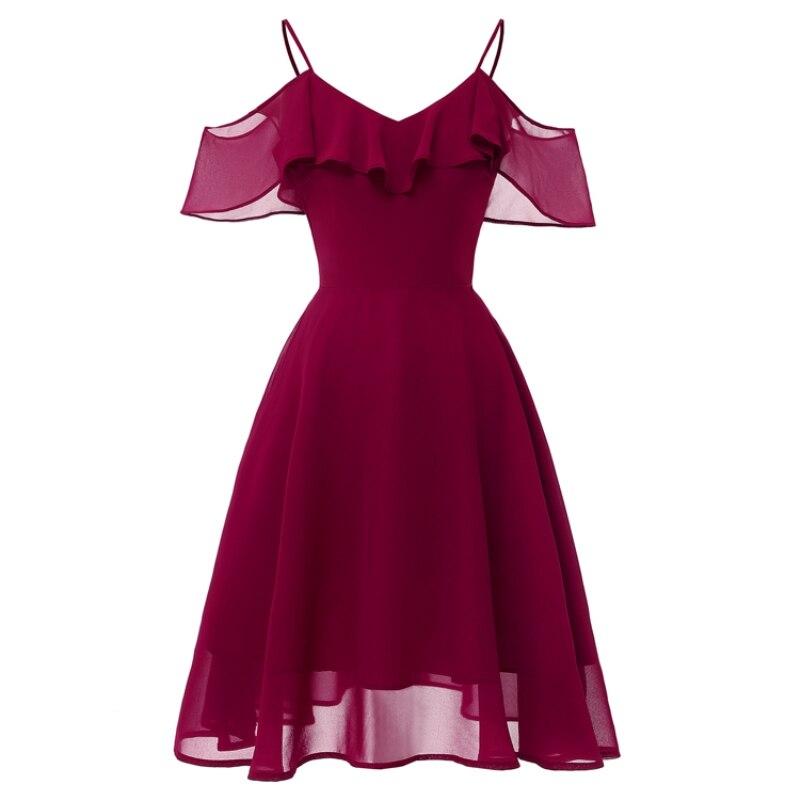 2019 V-neck Chiffon Floral Appliques Tea Length Bridesmaids Dresses Zipper Illusion Short Formal Dress