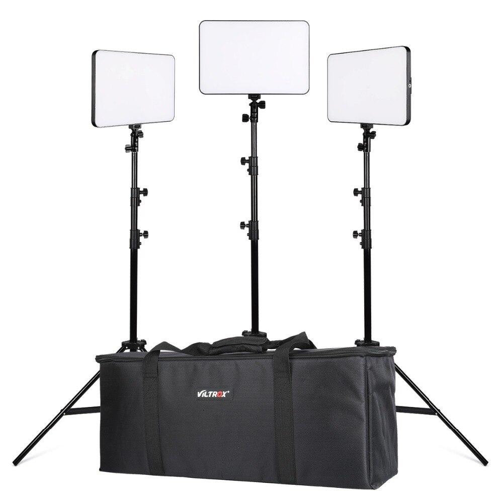 VILTROX 3 pièces VL-400T 40 W sans fil à distance Photo vidéo Studio lumière LED bi-couleur Dimmable + DC adaptateur d'alimentation pour support de lumière de caméra