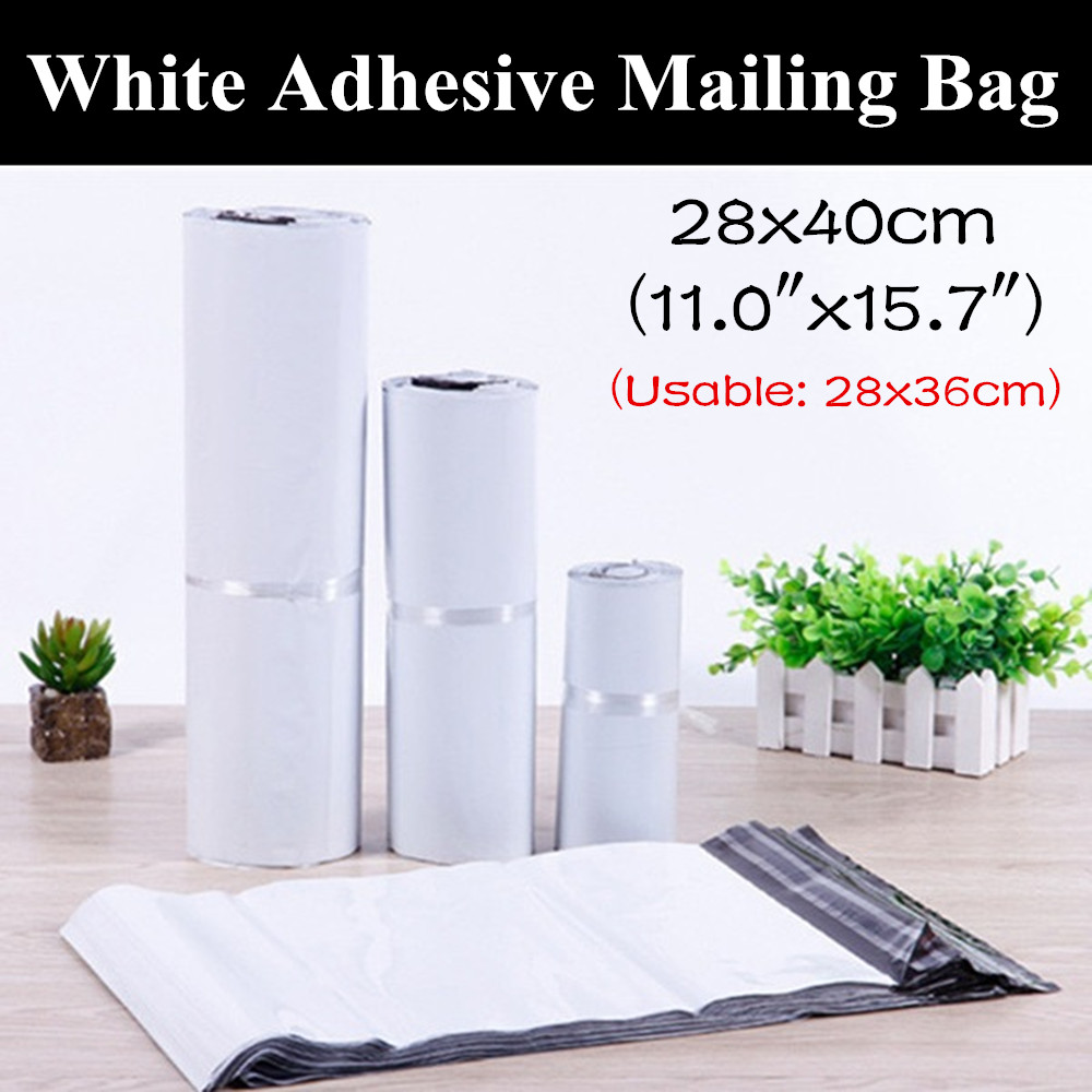 100pcs 28x40cm 11 x15 7 White Self Adhesive Courier Bag Courier Envelope Shipping Bag Mail Bag