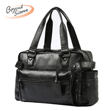 Fashion Men Crossbody Bags Leather Shoulder Bag for Male Big Capacity Messenger Casual Handbag Zipper Tote Bag Travel Handbags недорого