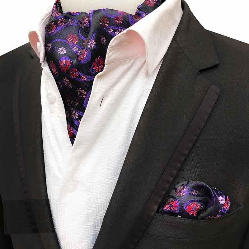 高級メンズ高級シルクアスコットタイセット男ネクタイネクタイハンカチセット花ペイズリーポケット正方形ネクタイ結婚式のためのパーティー
